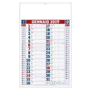 Calendario 2019 trimestrale quadretti